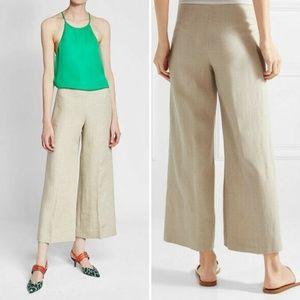 Theory Terena B Khaki Linen Culotte Crop Pants - 2